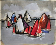 Dinghies off Ringstead gouache 14.5 x 12.5cm £525