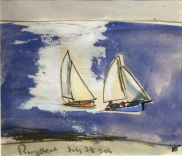 The Ringstead Regatta J Bailey crayon and gouache 4.75 x 5.75cm £450