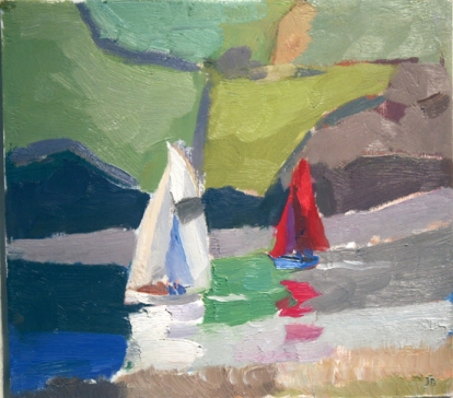Yachts on the River Dart J Bailey oil on board 25.5 x 28cm SOLD