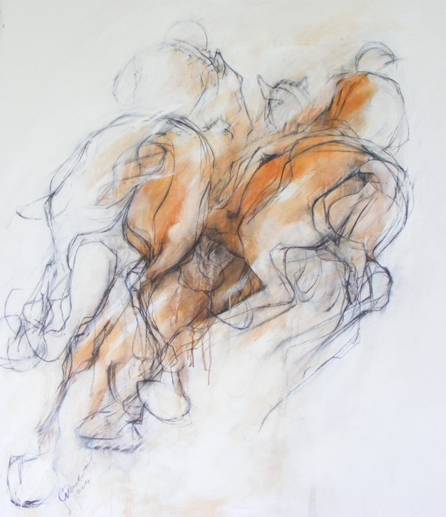Clare Trenchard Palio Study 1 5 ft x 4ft charcoal and acrylic wash on canvas 2014