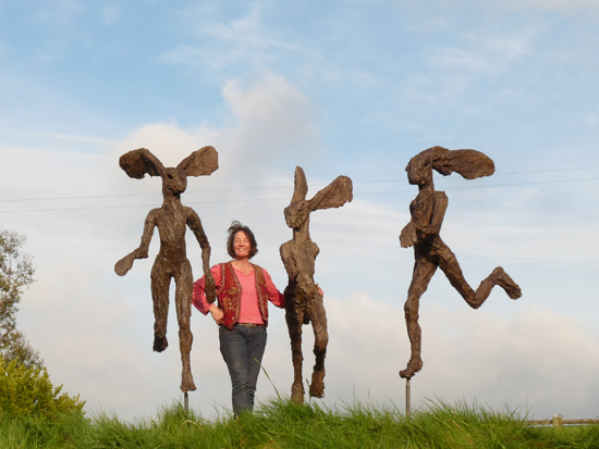 Clare Trenchard The Hare Affair, edition of 5, 190 x 90 x 60 cm, bronze (each) £16,500, bronze resin (each) £4,500