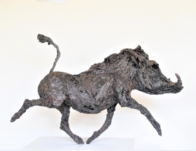 Clare Trenchard  Warty Hog edition of 12  ht 96 x 155 x 36 cm  bronze resin £3850  bronze £16500