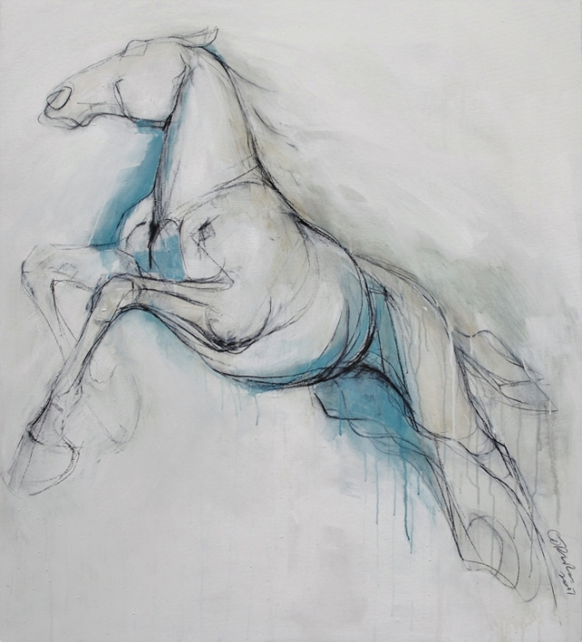 Clare Trenchard  Wild Horse II  charcoal and wash on canvas ht 128 x 113 cm  £3000