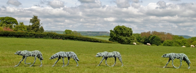 Clare Trenchard  Wolf I, II, III, IV and V not shown each edition of 12  ht 80 x 140 x 25 cm  bronze resin £3850  bronze £16500