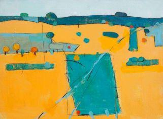 Tracks over the Plain 2015 acrylic on canvas board 41 x 31 cm £720