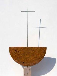 Sacred Vessel 14  2012  86x51x4cm  burr oak and steel  £810