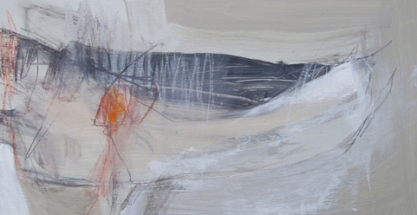 Early Sunday, October - Angela Charles acrylic and coloured pencil on board 15 x 30cm SOLD