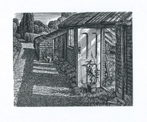 Old Greenhouse, Little Bredy Walled Gardens Howard Phipps wood engraving 4 x 5 inches £215 framed