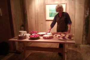A Buffet Table of Desserts with Head chef Jackie Spendlow