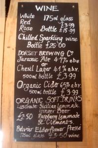 Drinks board Sladers cafe