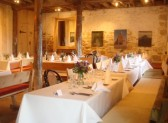 Tables are laid for party dinner, Sladers Yard Licensed Cafe