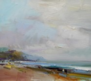 Walking on the Beach, Charmouth David Atkins oil on board 41 x 46cm £1,950