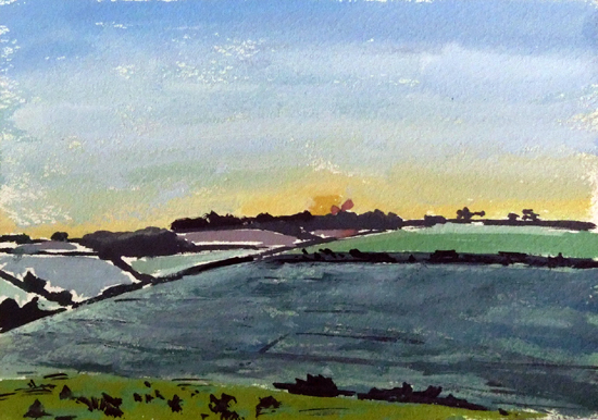 Charlton Down at Dusk I  Tim Cumming  5 x 7 in  gouache on paper   £150