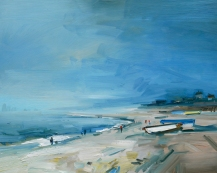 Sea Mist. Chesil Beach David Atkins 24 x 30 in 61 x 76m SOLD
