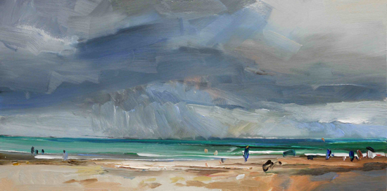 Summer Storm David Atkins oil on board 18 x 32 in 46 x 81cm £2,800