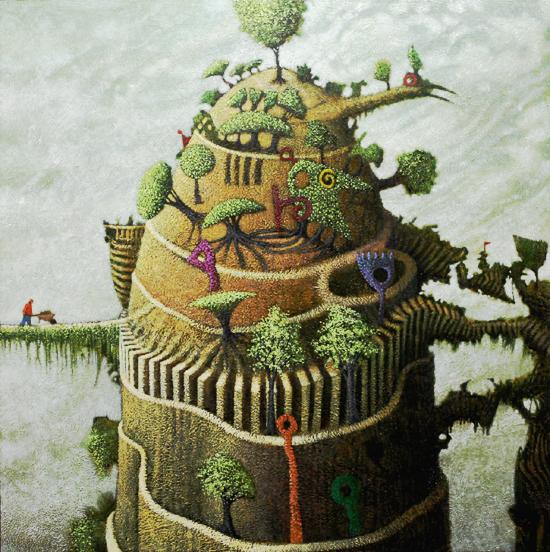 The Gardener by Simon Garden 90 x 90cm