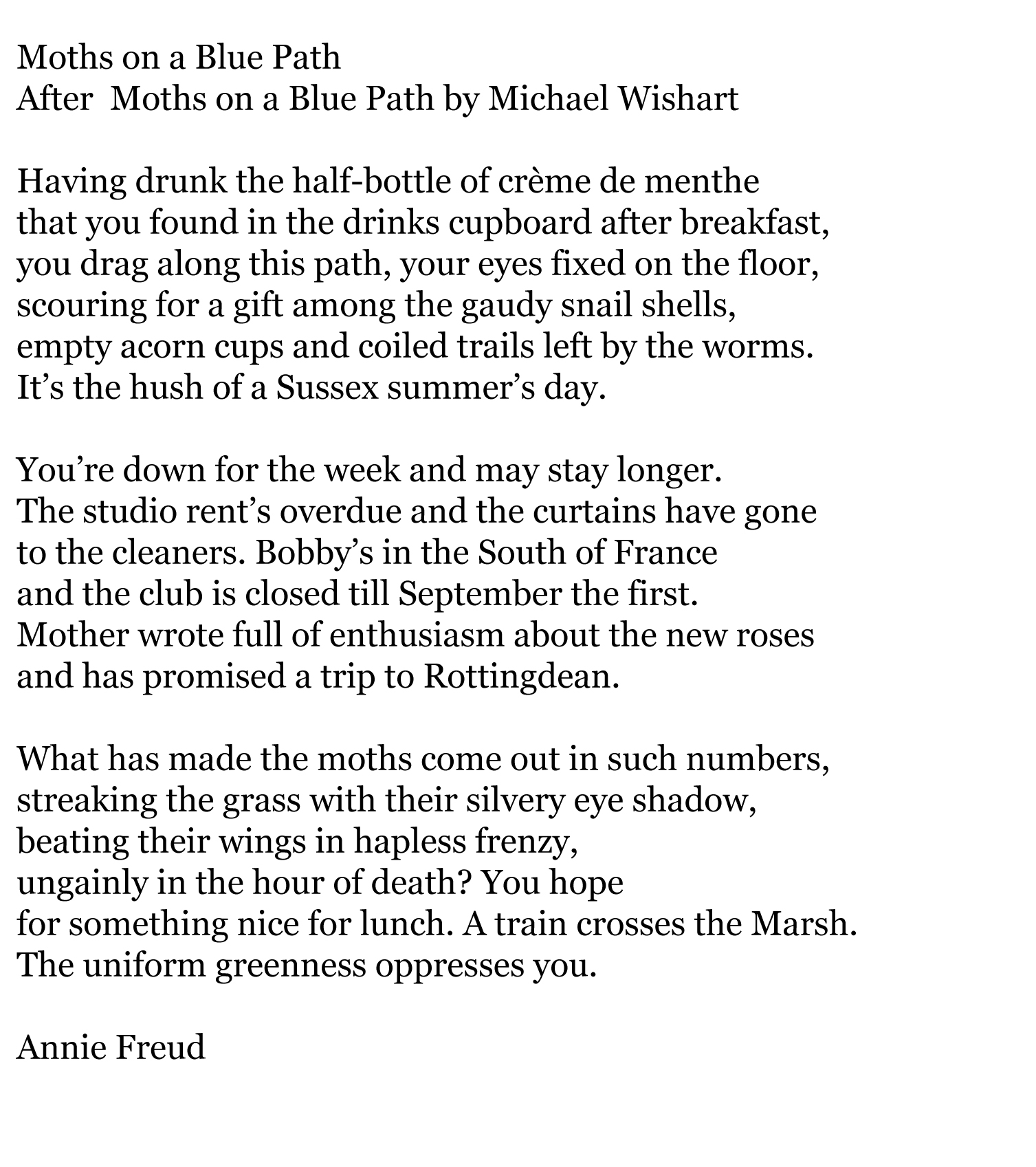 annie freud and the girls poetry sat sladers yard moths on a blue path annie freud copy