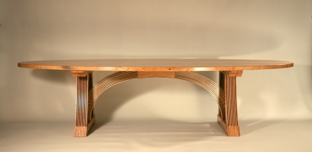 Arched table, oiled