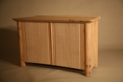 Sideboard in oak with steam bent sides and front, washed finish