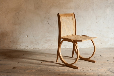 Ring Base Chair, oak with oiled finish, rattan seat and back.