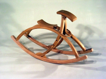Rocking Horse in solid steam bent oak, oiled finish. 120 x 50 x 70cmh