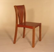 Lattice Chair in oak and oak bark tanned leather 42 cm w x 50 cm d x 90 cm h