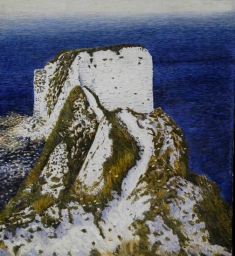 Andrew George Old Harry's Rocks egg tempera on gesso board 11.5 x 10.5 inches