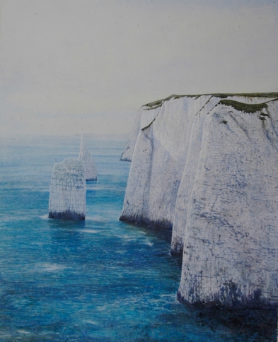 Andrew George The Needles, Ballard Down egg tempera on gesso board 41 x 32 inches