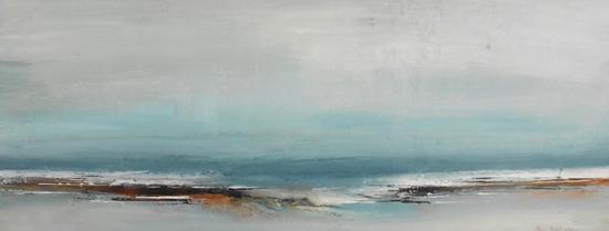 Boo Mallinson Coast, 25 x 55cm, mixed media on canvas £625