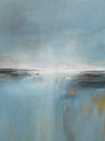 Boo Mallinson Peaceful Sea, 91cm x 123cm, mixed media on canvas