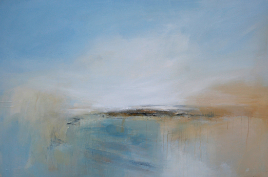 Boo Mallinson  Through the Mist I   mixed media on canvas 80 x 120cm £1,800