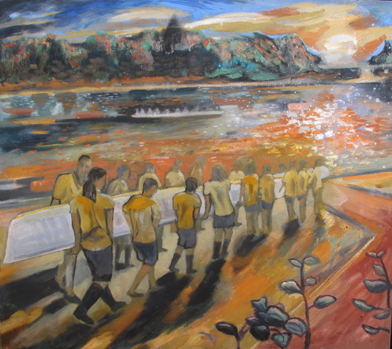 Dan Llywelyn Hall Camaraderie at Water's Edge 2013 oil on canvas 80 x 90cm £4,200