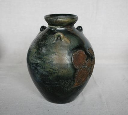 Svend Bayer 15. Jar, kaki glaze with wood ash, 32 x 23cm SOLD
