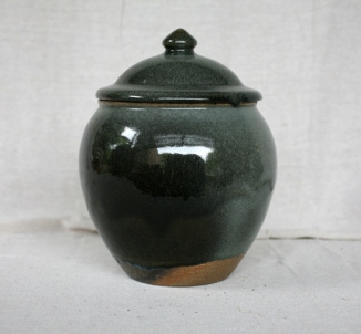 Svend Bayer 20. Lidded Jar, granite glaze with wood ash, 32 x 22cm SOLD
