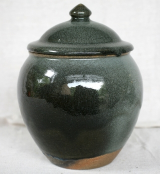 Svend Bayer 20. Lidded Jar another view, granite glaze with wood ash, 32 x 22cm £325
