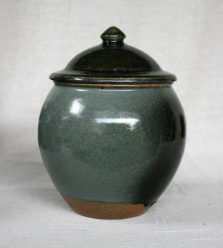 Svend Bayer 21. Lidded Jar, granite glaze with wood ash, 30 x 22 cm SOLD
