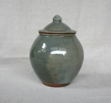 Svend Bayer 23. Lidded pot, celadon glaze, 25 x 17cm SOLD