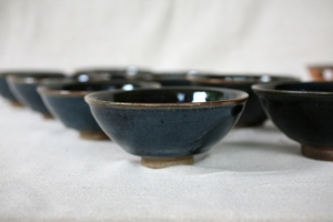 Svend Bayer 35 51, 52, 53, 54, 55, 56, 57. Exceptional Black Blue Glazed Bowls from side  7 x 15.5 cm £110 each please see pictures below for sales