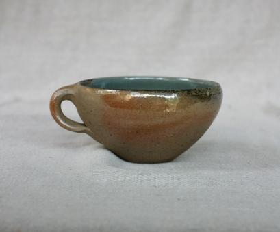 Svend Bayer 45. Soup Cup, wood ash glaze outside, celadon inside, 8 x 15 cm £80