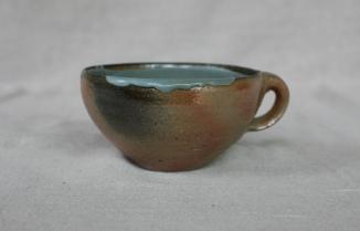 Svend Bayer 46. Soup Cup, wood ash glaze outside, celadon inside, 8 x 15 cm SOLD