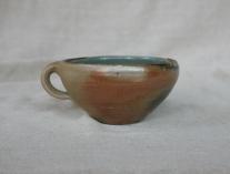 Svend Bayer 49. Soup Cup, wood ash glaze outside, celadon inside, 8 x 15 cm £80