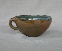 Svend Bayer 50. Soup Cup, wood ash glaze outside, celadon inside, 8 x 15 cm £80