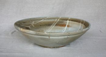 Svend Bayer 6. Large Bowl, shino glaze, 14.5 x 48 cm SOLD
