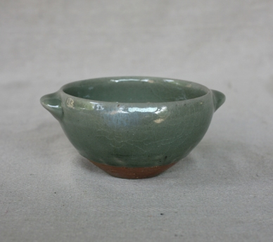 Svend Bayer 60. Bowl with handles, celadon glaze, 8 x 15cm £80