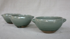 Svend Bayer 63, 62. and 59. Bowls with handles, wood ash glaze outside, celadon inside, 8 x 15cm £80 each