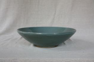 Svend Bayer 7. Large Bowl, celadon glaze, 12.5 x 42 cm SOLD