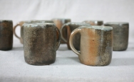 Svend Bayer 78 - 86 Smaller Mugs, wood ash glazed outside with celadon inside, sized from 10 x 8.5cm £32.50 and Bigger Mugs (73,74, 75 (sold), 76, 77) from 12 x 9cm £38