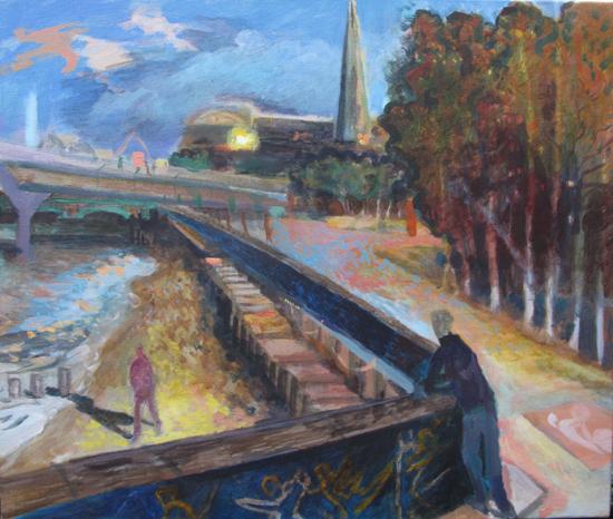 dan-llywelyn-hall-6pm-at-millennium-bridge-2012-acrylic-on-canvas-46-x-55cm-c2a32200