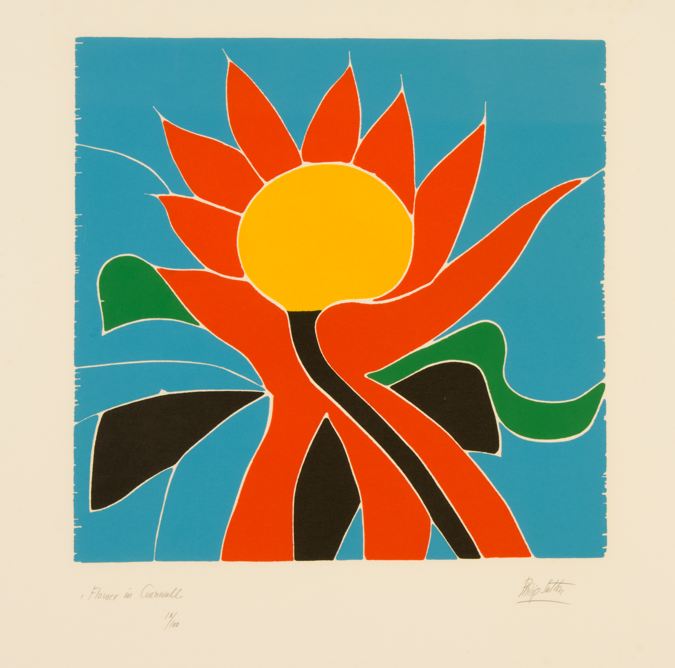 Philip Sutton Flower In Cornwall Signed Woodcut Ed 75 Image Size