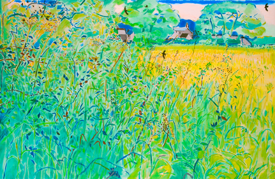 Philip Sutton Hay Field oil on canvas 51 x 77 inches  1990  £42,000
